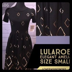 NEW Elegant Amelia Small Black Shiny Gold Dress